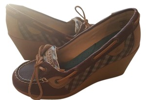 Sperry Leather Brown Plaid Multi Wedges