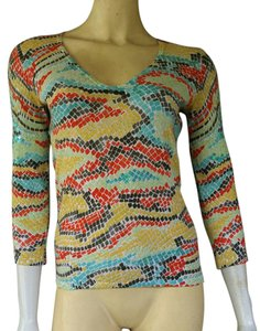 Cache Colorful Knit 3/4 Sleeves Sequin V-neckline Sweater