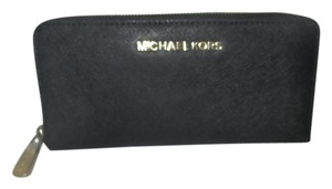Michael Kors Jet Set Saffiano Leather Zip Around Continental Wallet $138 Black