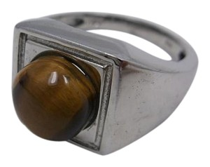 South African Tigers Eye Gemstone on Platinum Bond Brass Size 12 w Free Shipping