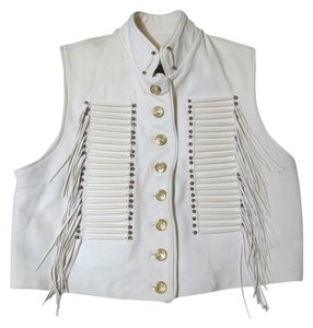 Other Deerhide Beige Creme Ivory Off Biker L 12 14 Large Gold Beaded Fringe Jacket Vest