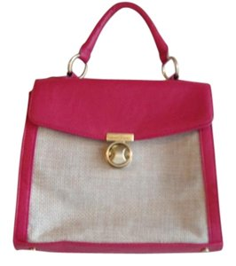 Ivanka Trump Satchel in Rose Pink and Faux Straw