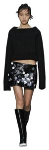 Vera Wang Crinkled Pvc Floral Embellished Wrap Mini Mini Skirt Black