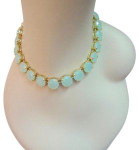 J.Crew Green Crystal Statement Gold Tone Chunky Strand Necklace --New!