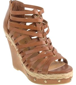 Chinese Laundry Wedge Studded Cognac Leather Wedges