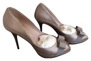 Salvatore Ferragamo Silver Pebble Calf Pumps
