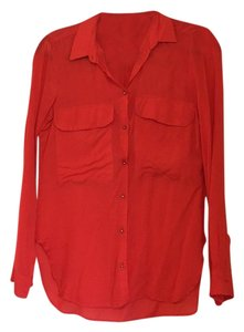 Zara Button Down Shirt Red