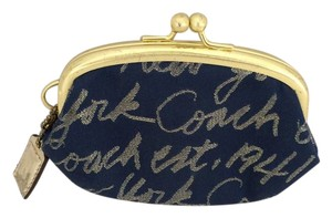 Coach Coach New York Kiss Lock Coin Purse Blue