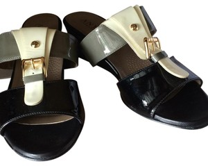 Anyi Lu Black mix with cream and olive green Wedges