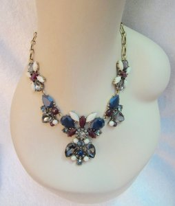 J.Crew Crystal Chandelier Statement Antique Gold Tone Chunky Necklace