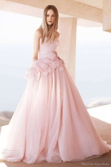 Item - Blush Tulle Strapless Ball Gown with Satin Corset Bodice Style Vw351112 Wedding Dress Size 2 (XS)
