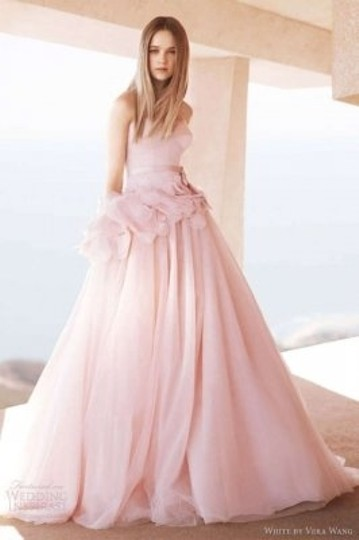Blush Tulle Strapless Ball Gown with Satin Corset Bodice Style Vw351112 Wedding Dress Size 2 (XS)