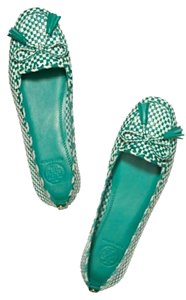 Tory Burch Green and White Flats