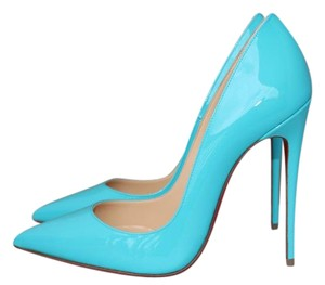 Christian Louboutin Patent Leather Patent Pointed Toe Luxury Blue Pumps