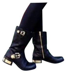 Vince Camuto Black Leather w/ Gold Accents Boots