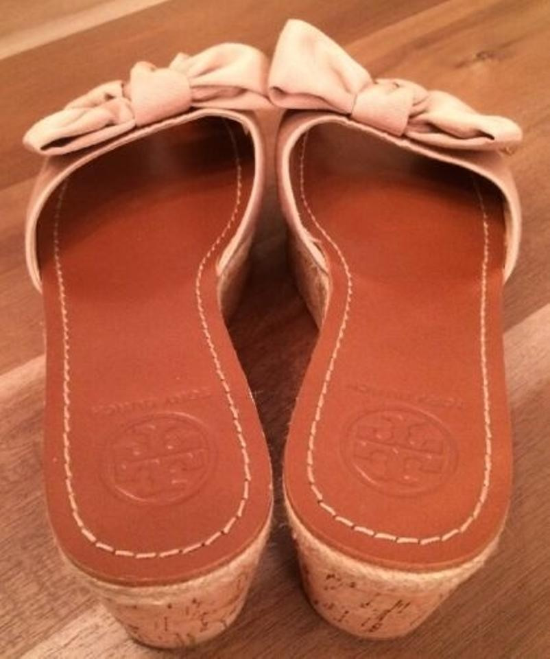 7b966aab79f Tory Burch Camellia Pink Nude Bow Penny Grosgrain Cork Logo Slide Wedges  Size US 7 Regular (M