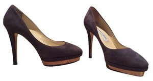 Jimmy Choo Mink/Pewter Suede with Bronze accent on front platform Pumps
