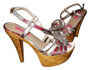 Betsey Johnson Floral Strappy Summer Open Toe Multicolor Platforms