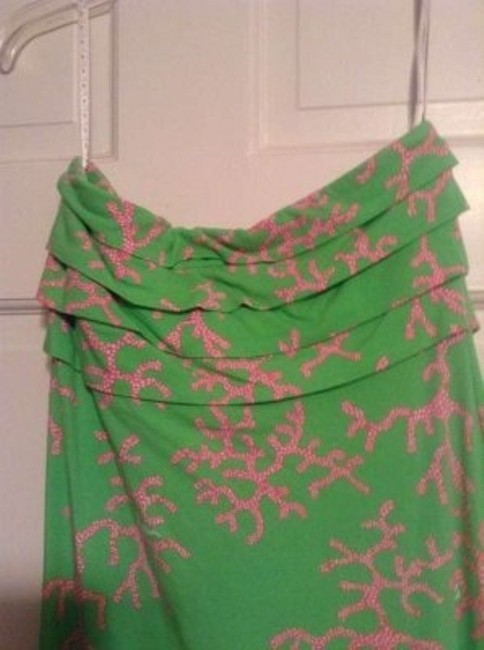 Lilly Pulitzer short dress Green and pink coral printed on Tradesy