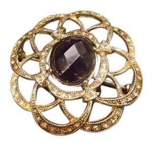 MONET Vintage Signed Monet Pin, with Large Center Purple Stone