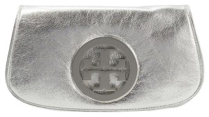 Tory Burch Metallic Logo Silver Clutch