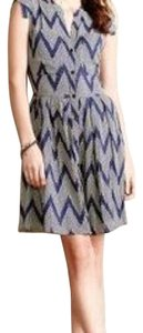 Anthropologie short dress Navy Geometric Cap Sleeves on Tradesy