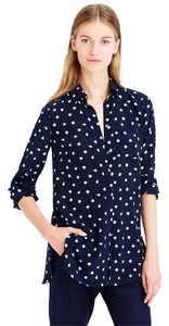J.Crew Silk Unique Print Quirky Feminine Button Down Shirt Navy