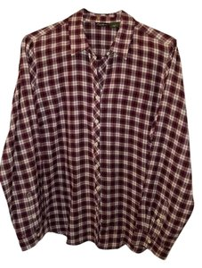 Eddie Bauer Button Down Shirt Purple plaid