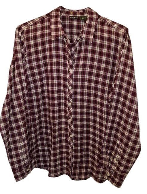 Eddie Bauer Purple Plaid Plaid Shirt Cotton Blend Button
