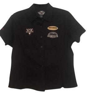 Harley Davidson Motor Cycle Button Down Shirt black