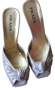 Prada Shiny Silver Grey Pumps