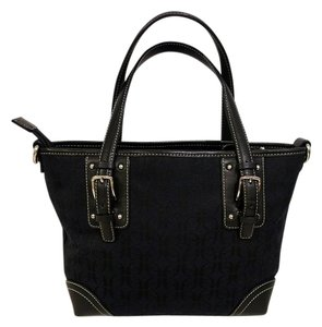 Fossil Signature Leather Satchel in Black