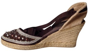 Montego Bay Club Espadrille Beading Brown Wedges