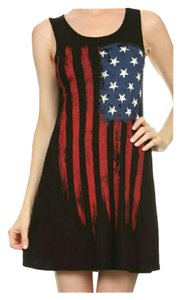 Other short dress Black, red, white, and blue 4th Of July Patriotic Graphic Tee American Flag Cover Up on Tradesy