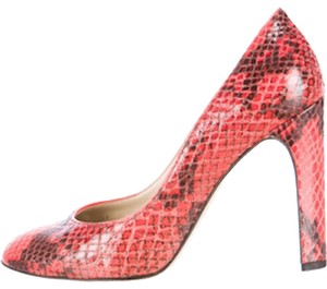 Stella McCartney Snakeskin Embossed Vegan Red Pumps