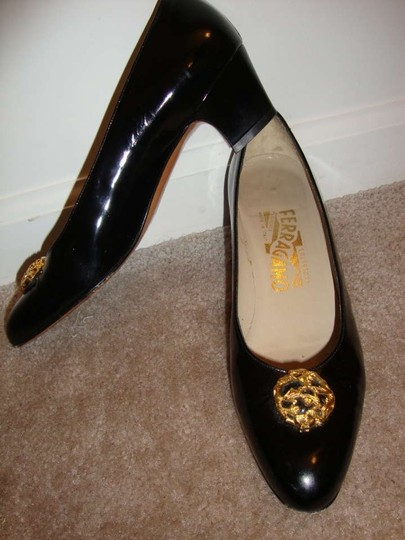 Salvatore Ferragamo 6.5 6 1/2 Narrow Mad Men Black Patent Leather Pumps