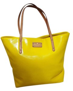Kate Spade Studded Leather Tote in Yellow