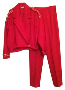 St. John Red knit, gold studded sweater with pants