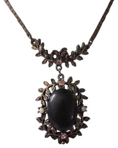 Other Large Antique Black Gothic Pendant Copper Setting w/Chain