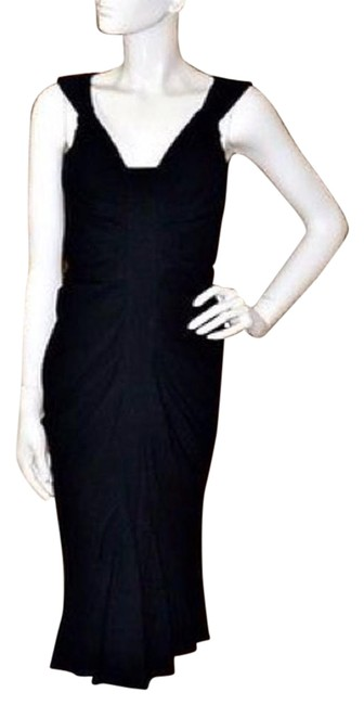 Item - Black Ruched Cocktail Knee Length Night Out Dress Size 6 (S)
