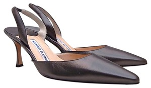 Manolo Blahnik Metallic Gray / Anthracite Pumps