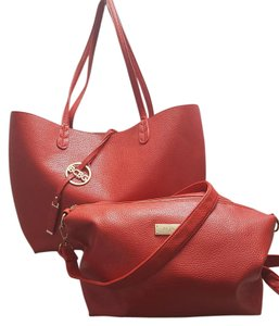 BCBG Paris 2-piece Reversible Convertible Pebbled Faux Leather Tote in Red