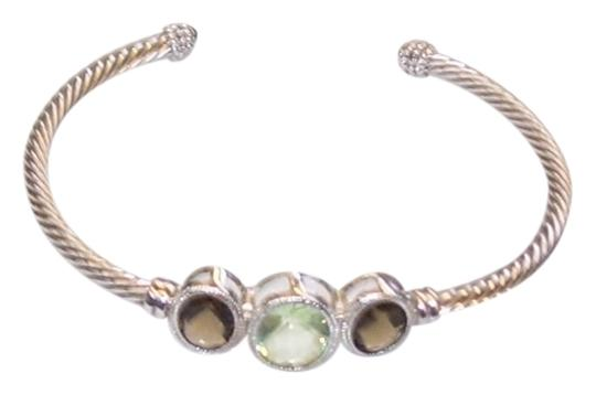 unknown Sterling Silver Green Amethyst and Topaz Cuff Bracelet