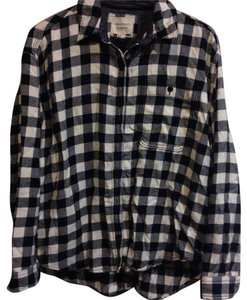 American Eagle Outfitters Button Down Shirt Black and White