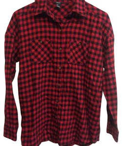 American Eagle Outfitters Button Down Shirt Red and Black