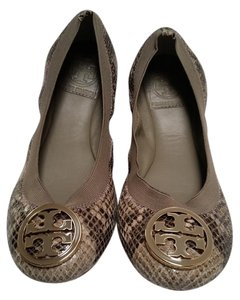 Tory Burch Leather Snake Brown/Snake Print Flats