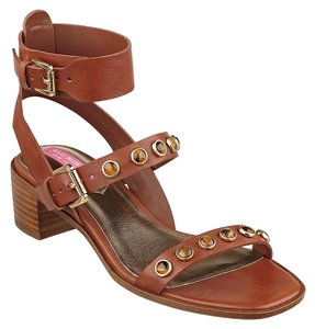 Isaac Mizrahi Leather Strap Brown Sandals
