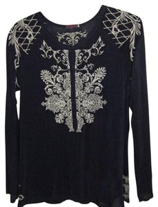 Johnny Was Embroidered Tunic Exotic Long Sleeve Top Navy