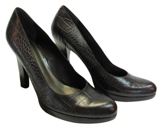 Nine West Size 9.50 M Reptile Design Very Good Condition Brown, Black Pumps