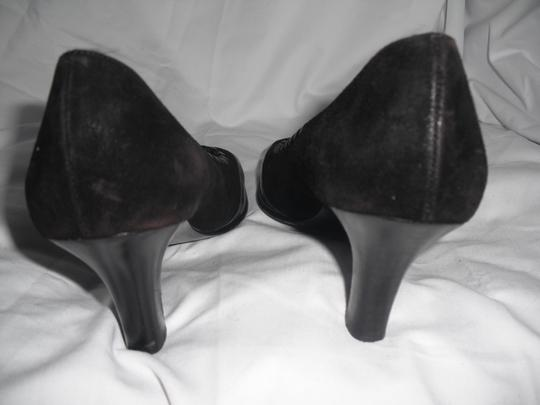 Salvatore Ferragamo Leather Suede Bow Detail Square Toe Black Pumps